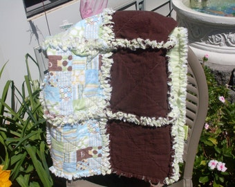 Baby Crib Blanket Rag Quilt in Brown, Green and Blue 38 x 30 1/2 ready to ship