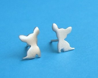 Tiny sterling silver Chihuahua Earrings Dog Studs Chihuahua jewelry  love my pet jewelry animal earrings