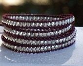 Handmade Silver Beaded Maroon Leather Wrap Bracelet