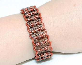 Copper Leather Antiqued Copper Plated Rolo Chain Cuff Bracelet