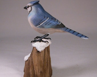 5-1/4 inch Blue Jay Hand Carved and Hand Painted Wooden Bird