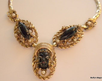 Vintage Selro Black African or Asian Princess Necklace Black Glass Seed Pearls