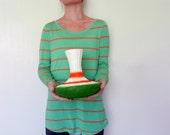 Green and Orange Fluted Vase / Retro Style vase / unique home decor vases by Kristin Carriage Oak Cottage