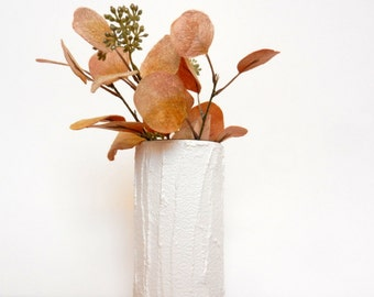 White Vase / cylinder vase /  white home decor / neutral home decor
