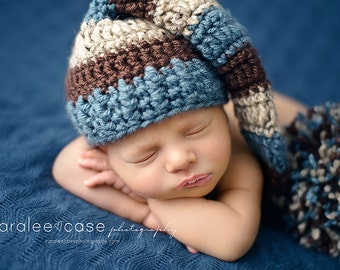 Elf Hat in Dusty Blue, Chocolate, and Oatmeal