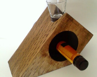 Wooden Whiskey and shot glass Holder