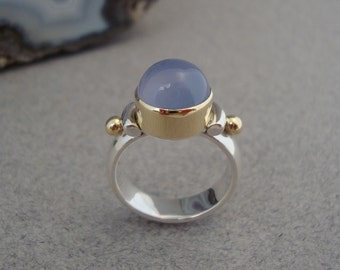 Blue Chalcedony Ring in Sterling Silver and 18k Gold, Periwinkle Gemstone Ring