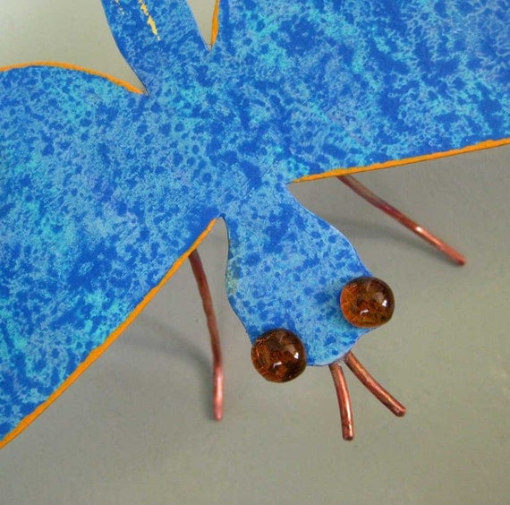 Metal Garden Art 3D- Dragonfly - Original repurposed Metal sculpture blue gardener yard art