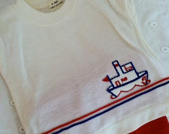 Ahoy Matey adorable vintage children's summer red nautical shorts set