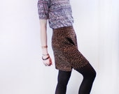 VNTG 80s soft smooth matte suede textured leopard mini skirt with side slits fitted XS