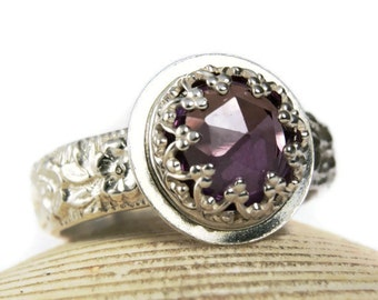 Alexandrite Sterling Silver Ring for Women, Lab Created Gemstone Ring, Custom Made Jewelry