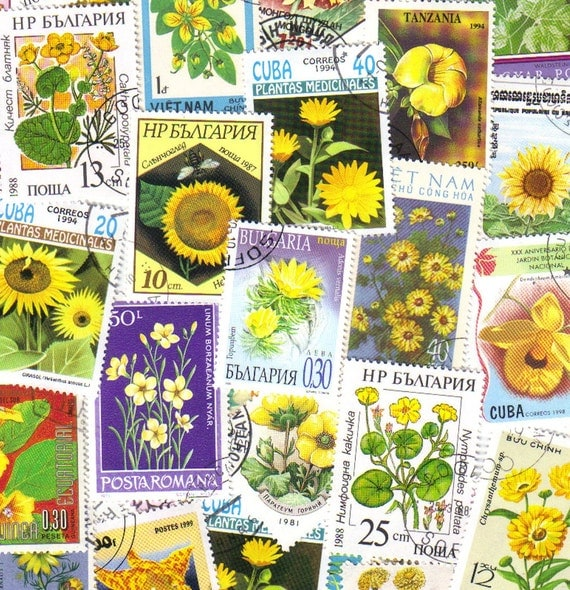 50 Yellow flowers - Vintage postage stamps - Wedding card decoration - scrapbooking - collage