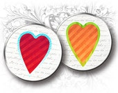 INSTANT Download - Valentine Hearts 1.5 Inch Circles Digital Collage Sheet Download and Print