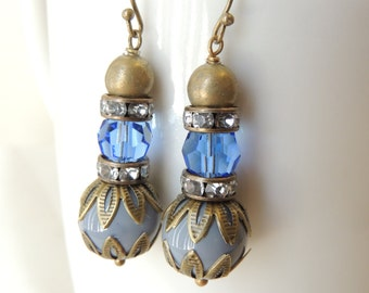 Vintage Style Earrings, Gray Glass Beads Blue Preciosa Crystal Earrings, Antiqued Brass Filigree Bead Caps, Bridesmaid Earrings, gift