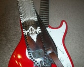 SALE Monogrammed Monocled King Cobra Guitar Strap With Tooled Lettering