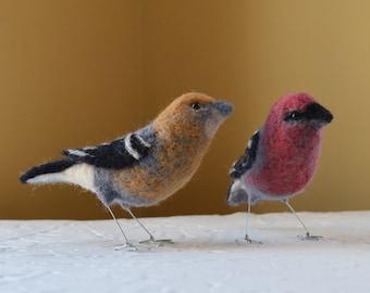 Mr. or Mrs. Pine Grosbeak, Bird Art Sculpture Needle felted