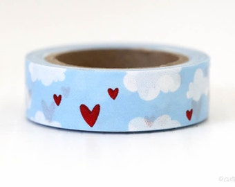 Sky Blue Clouds Washi Tape Hearts Washi Tape Red Hearts Wedding Love