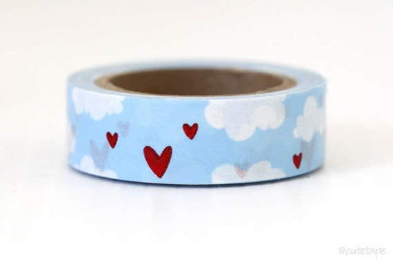 Sky Blue Clouds Washi Tape clouds Red Heart washi tape Wedding Love