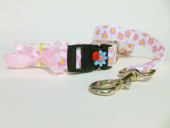 Dog Collar and Leash - Pink Flowers