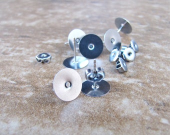 200 10mm Surgical Stainless Steel Earring Posts and Backs Flat Pad - 100 pairs