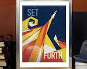Science Poster Art Print Original Illustration Stellar Science Series Set Forth - Wall Art