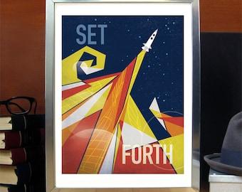 LARGE Set Forth, Science Poster, Art Print, Original Illustration, Stellar Science Series - Wall Art