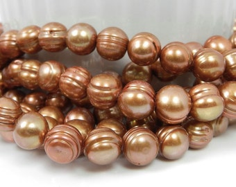 Rust Pearls, Bronze Pearls, Copper Beads, 9mm Beads, Full Strand Loose Pearl Beads
