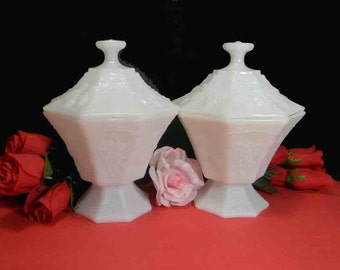 BUY 2 OR 4 White Milk Glass Vases / Compotes / Candy Dishes / Planters / Candle Holders / Bowls. Vintage. 4184
