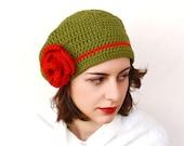 Cayenne - Slouchy Beret with Rose - Easy Crochet French Beret Pattern - Crochet Flower Pattern - Women's Hat Pattern - Crochet Rose Pattern