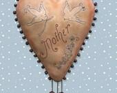 Primitive E Pattern Digital pdf Mother's Day Heart Valentine's  INSTANT DIGITAL DOWNLOAD