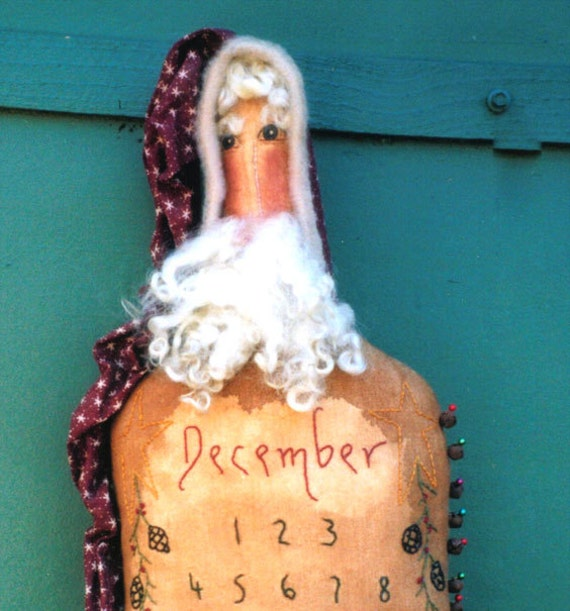 Primitive E Pattern digital pdf Advent Santa  Countdown to Christmas INSTANT DIGITAL DOWNLOAD