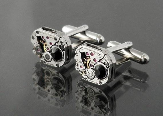 Steampunk Cuff Links, Wittnauer Vintage Watch Movement Cuff Links / Jet Crystals