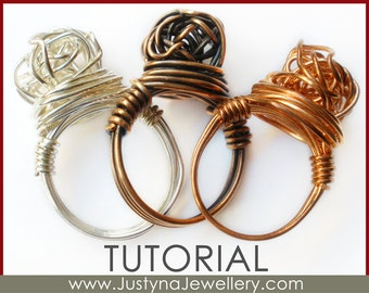Wire Jewelry Tutorial, Knot Ring Tutorial, Knotted Ring Tutorial, Wire Ring Pattern, Wire Jewelry Instructions, Wrapping Jewelry Tutorial