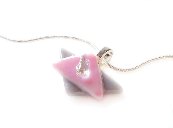 Necklace , Pink, Gray & Dichroic Pendant, Fused Glass Jewelry, Asymmetrical Triangles