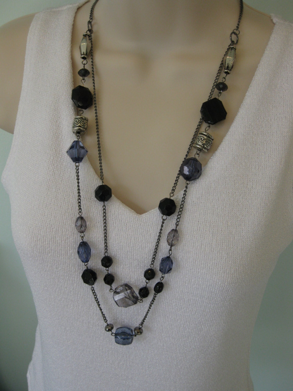 blue beaded necklace chunky black multi strand blue