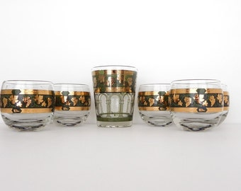Cera Roly Poly Glasses. Set of 6 Golden Grapes Pattern.  Bonus 1 Old Fashioned Glass.