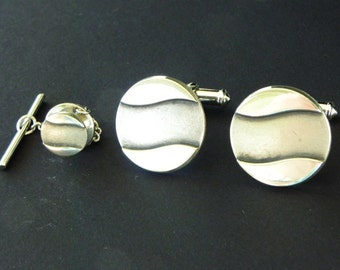 Modernist Sterling Silver Cufflinks and Matching Tie Tack. Vintage Balfour Cuff Links.