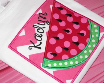 Personalized Watermelon Shirt Fitted Short Sleeve Pink Chevron