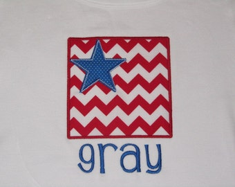 Personalized July 4th Red Chevron and Blue Dot Star Shirt