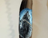 Howling Wolf Painting on feather