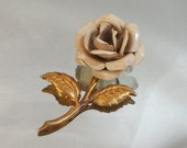 Vintage Flower Brooch. Beige Rose. 70s Flower Power.