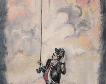 Mr Pour'don man in suit in rain whimsical vintage inspired umbrella painting