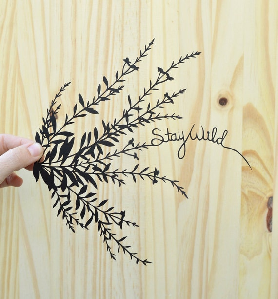 stay wild . wildflowers . original papercut . 11x14