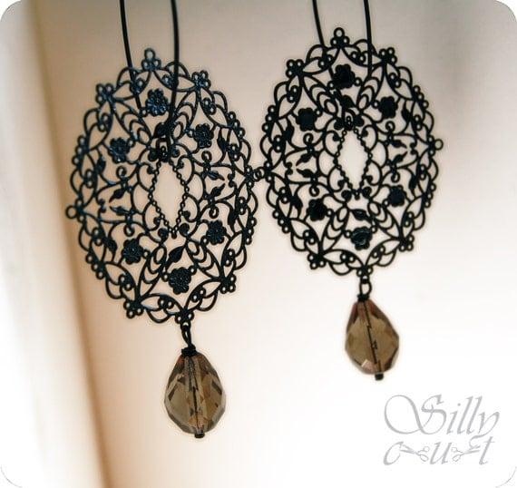 earrings - DARK FLOWERS - gothic,  victorian, neovictorian, mourning, dark romance