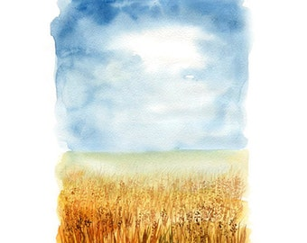 Summer-Landscape painting-Watercolor-Archival Print from my original watercolor  11x14 inch