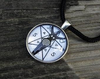 Wiccan Spiral Goddess Symbols & Pentacle P7 Pentagram Glass Necklace Pagan