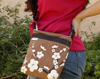 Cherry Blossom Mocha and White Ultrasuede Sling Bag with  Hand Painted Cherry Blossoms
