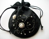 Jewelry Pouch Black Felt Gift Bag or Compact Pouch with Rhinestone Crystal Rose Montees and Baroc Fresh Water Pearls Handsewn
