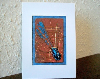 Wall Hanging Fiber Art Mixed Media Batik Fabric with Hand Embroidery and Fantasy 3D Spider Charm One of a Kind