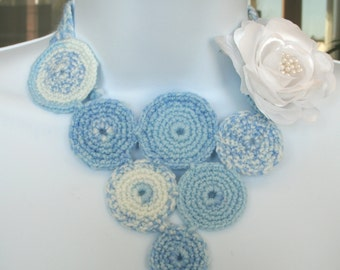Crocheted Rose Necklace